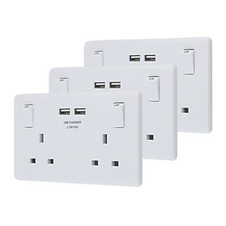 Lap 2 Gang Sp 13a Switched Socket 1a Outlet Usb Charger White 3 Pack Switches Sockets Fix