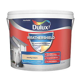 Dulux Weathershield Textured Masonry Paint County Cream 10ltr Masonry Paints Screwfix Com