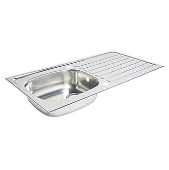 Kitchen Sink Drainer Stainless Steel 1 Bowl 940 X 490mm Sinks Screwfix Com
