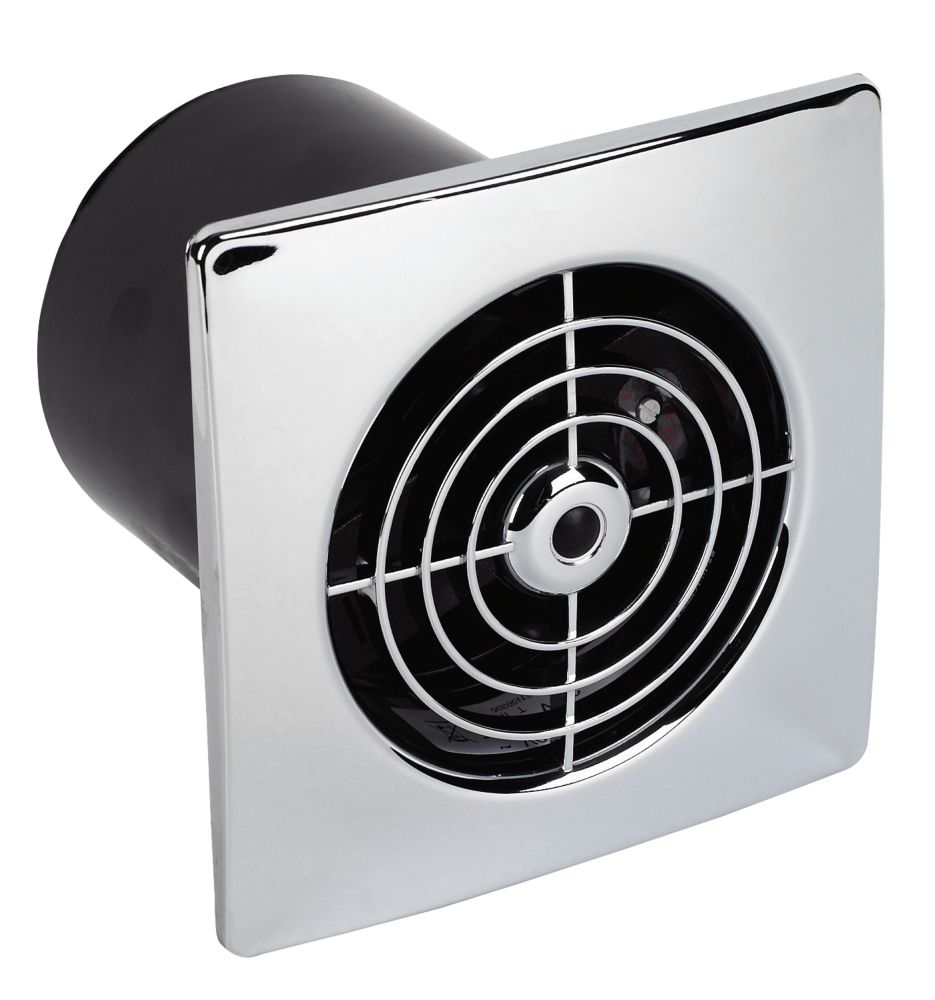 Manrose Lpst W Bathroom Extractor Fan With Timer Chrome V Bathroom Extractor Fans Screwfix Com
