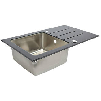 Stainless Steel & Glass Top Kitchen Sink & Drainer 1 Bowl Reversible ...