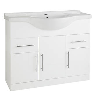 Bathroom Vanity Unit Basin White Gloss 855 X 500 889mm Furniture Fix