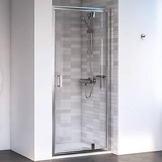 Shower Doors.Aqualux Edge 6 Pivot Shower Door Polished Silver 760 X 1900mm