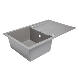 Plastic Resin Kitchen Sink Drainer Grey 1 Bowl Reversible 800 X 500mm Sinks Screwfix Com