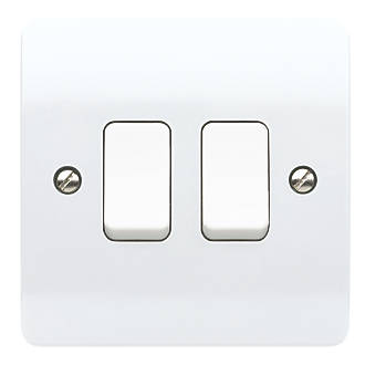 Mk Logic Plus 10ax 2 Gang 2 Way Light Switch White With White Inserts Switches Screwfix Com