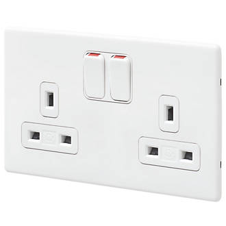 MK Aspect 2-Gang 13A DP Switched Plug Socket White | Switches ... on xbee devices, cable management devices, plantronics devices, hubbell twist lock devices, pinout electrical devices,