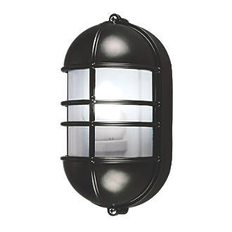 Caged Bulkhead Wall Light Black 240v