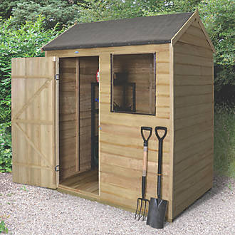 Forest 6 X 4 Nominal Apex Overlap Timber Shed With Base Assembly