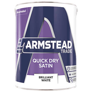 Armstead Trade Quick Dry Satinwood Paint Brilliant White 2 5ltr 2323g