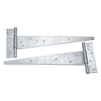 HEAVY DUTY TEE HINGES 18 INCH 450MM GALVANISED 1 X PAIR WITH FIXINGS//SCREWS