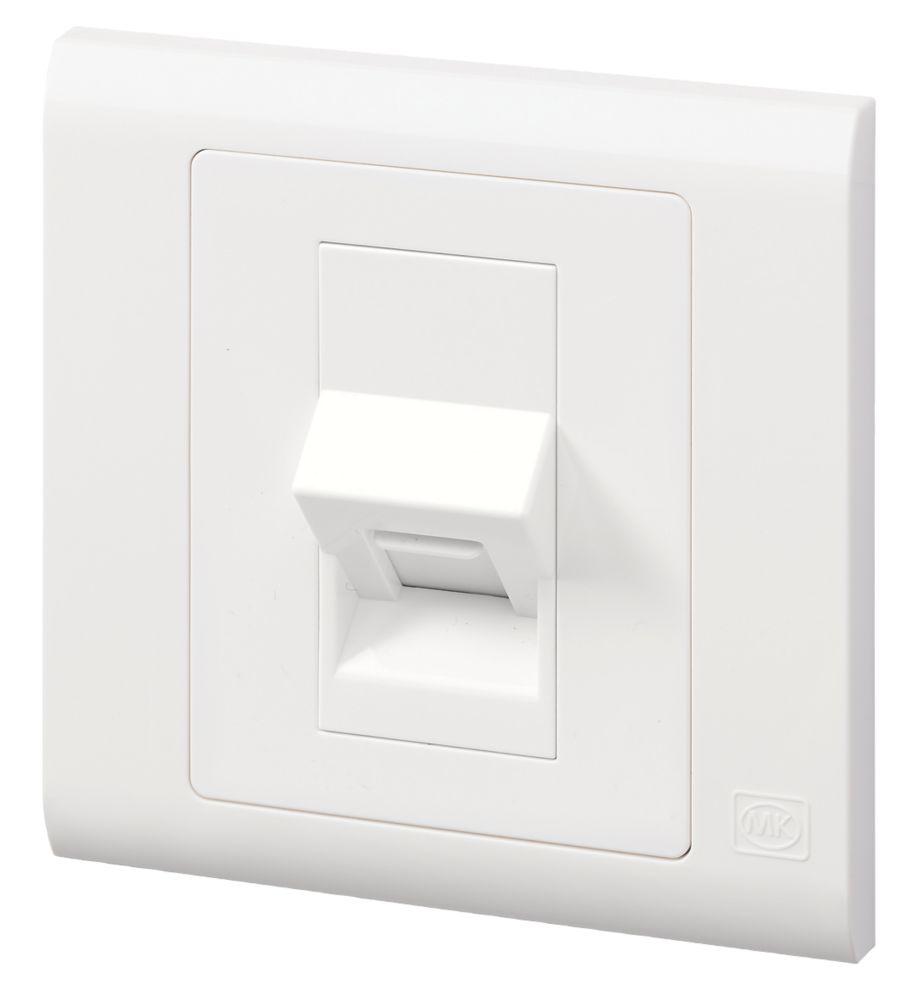 Mk Essentials Rj11 Telephone Data Socket White With White Inserts Switches Sockets Screwfix Com