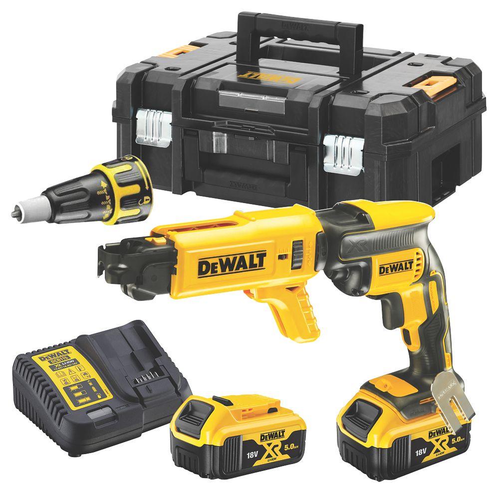 Dewalt Dcf620p2k Gb 18v 5 0ah Li Ion Xr Brushless Cordless Collated Drywall Screwdriver Power Screwdrivers Screwfix Com