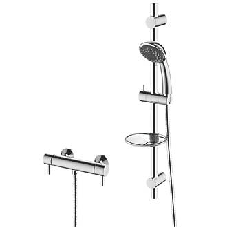 Cooke & Lewis Mala Rear-Fed Exposed Chrome Thermostatic Mixer Shower ...