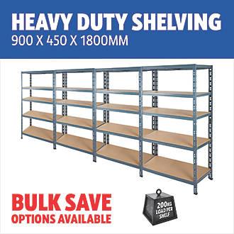 mm heavy duty boltless metal steel shelving shelves storage unit Industrial BLUE 1800 x 900 x 400