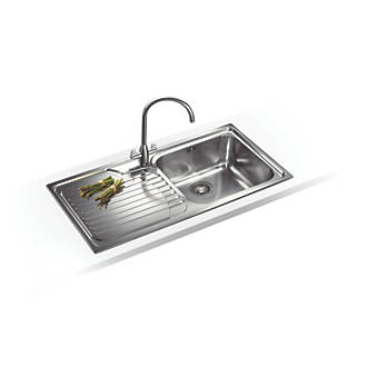 Surprising Franke Galassia Inset Kitchen Sink Stainless Steel 1 Bowl 1000 X 500Mm Home Interior And Landscaping Ologienasavecom