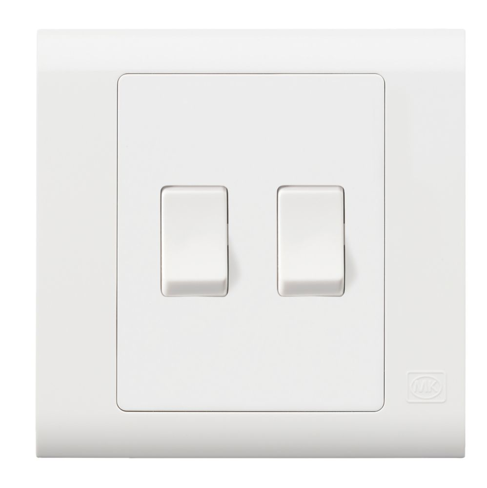 Mk Essentials 10ax 2 Gang 1 Way Light Switch White With White Inserts Switches Sockets Screwfix Com