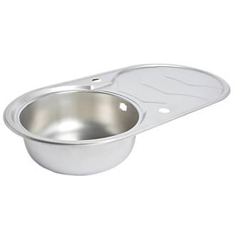 Round Kitchen Sink & Drainer Stainless Steel 1 Bowl 900 x 480mm ...