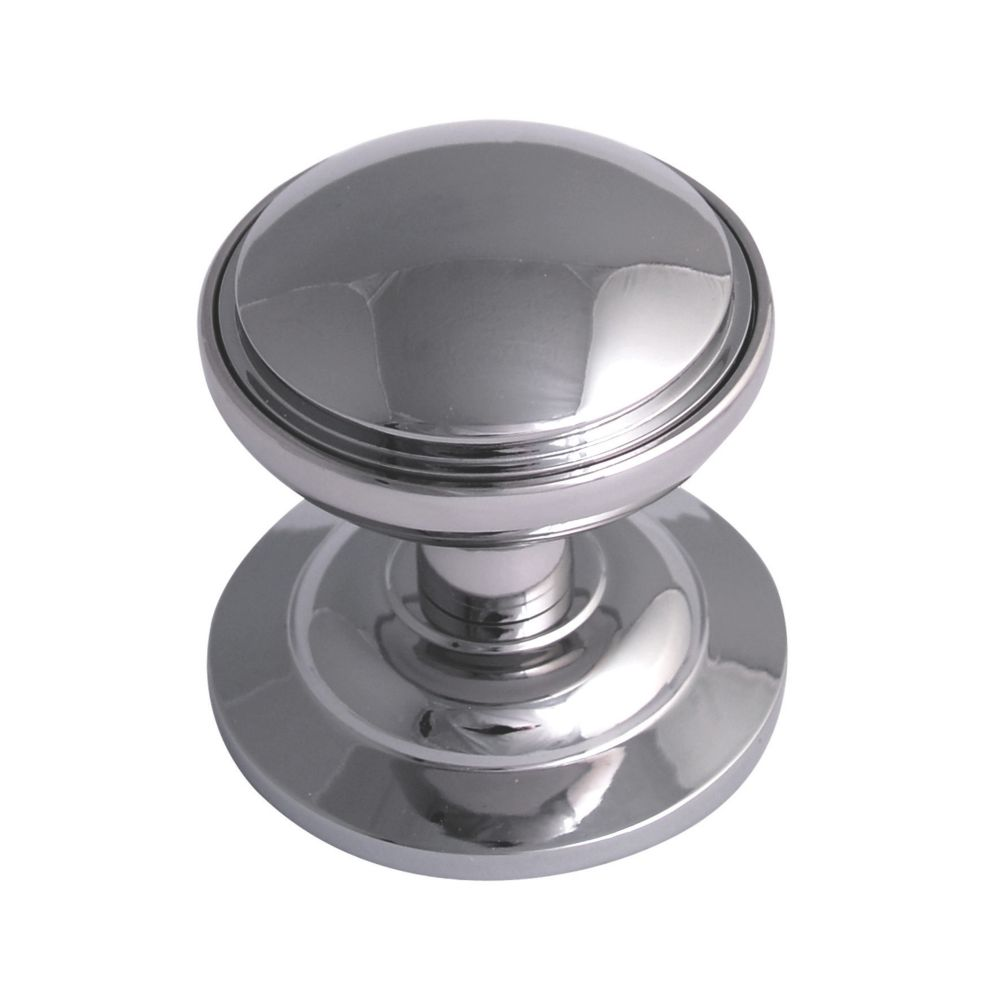 Fab Fix Decorative Round Door Knob Polished Chrome 75mm Centre Door Knobs Screwfix Com