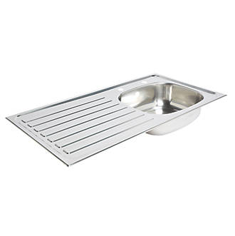 Kitchen Sink Left Hand Drainer Stainless Steel 1 Bowl 940 X 490mm Sinks Screwfix Com