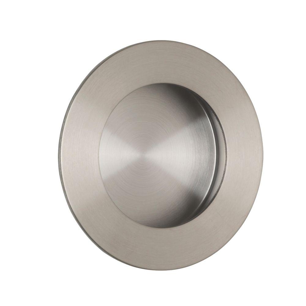 Eurospec Circular Flush Pull Handle 48mm Satin Stainless Steel Cup Handles Screwfix Com