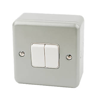 Pleasing Mk 2 Gang 2 Way 10Ax Light Switch Metal Clad Metal Clad Switches Wiring Cloud Hisonuggs Outletorg