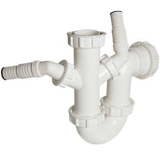 Floplast Dual Sink Wash Trap White 40mm Traps Screwfix Com