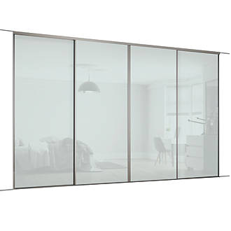 finest selection a493a cb618 Spacepro Classic 4 Door Framed Glass Sliding Wardrobe Doors Arctic White  2978 x 2260mm