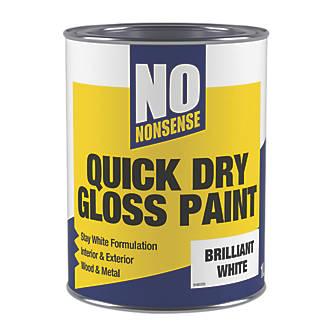 No Nonsense Water-Based Gloss Paint Pure Brilliant White 1Ltr