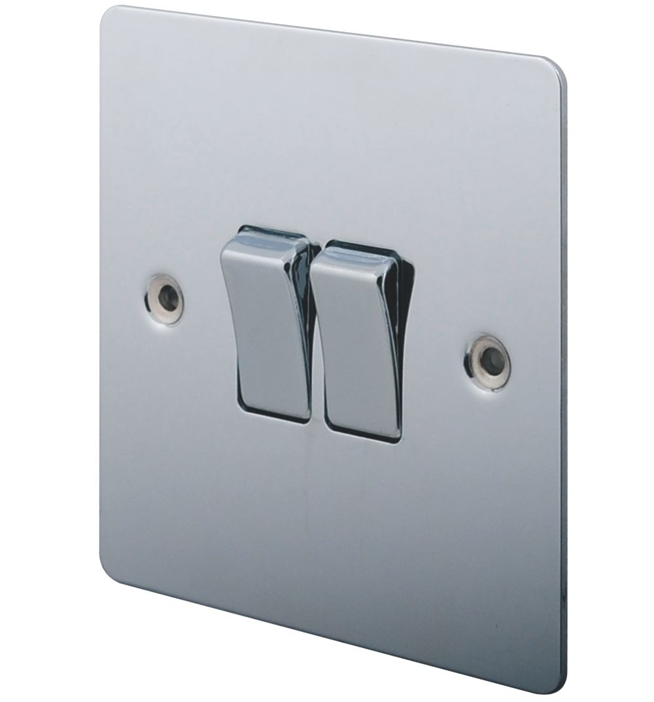 Lap 10ax 2 Gang 2 Way Light Switch Polished Chrome Switches Sockets Screwfix Com