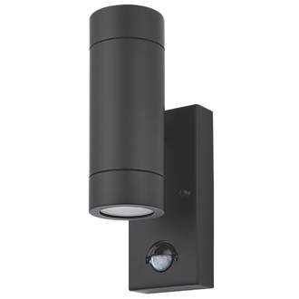 Lap bronx black gu10 pir up down wall light outdoor wall lights lap bronx black gu10 pir up down wall light outdoor wall lights screwfix mozeypictures