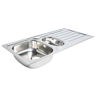 Kitchen Sink Drainer Stainless Steel 1 5 Bowl 1000 X 500mm Sinks Screwfix Com