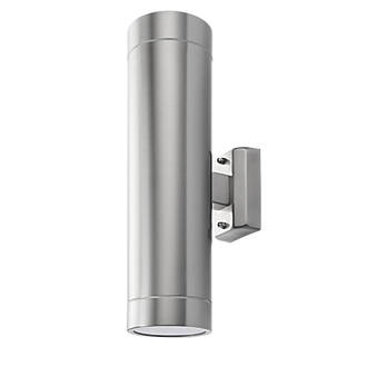 newest 163d4 a86e5 Manhattan Brushed Stainless Steel LED Outdoor Up & Down Wall Light 650lm  9.6W