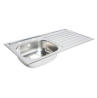 Fine Kitchen Sink Right Hand Drainer Stainless Steel 1 Bowl 940 X 490Mm Download Free Architecture Designs Scobabritishbridgeorg