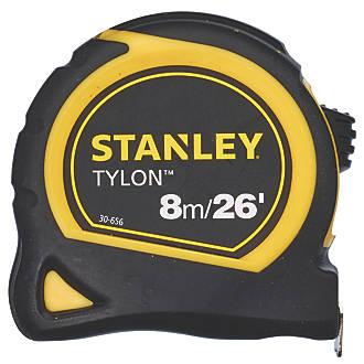 6 x Stanley Pocket Tape Measure Tylon Metre 25mm Blade 8M//26Ft 1-30-656 Loose