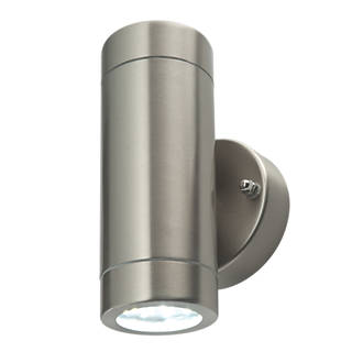 Lap bronx brushed stainless steel led up down wall light 600lm 2 lap bronx brushed stainless steel led up down wall light 600lm 2 x 35w led wall lights screwfix aloadofball Images