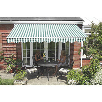 Greenhurst Henley Extendable Patio Awning Green White 25 X 2m