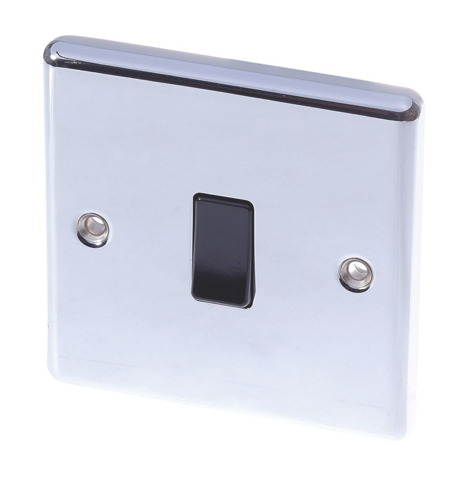 Lap 10ax 1 Gang 2 Way Light Switch Polished Chrome With Black Inserts Switches Sockets Screwfix Com