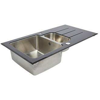 Stainless steel glass top kitchen sink drainer 15 bowl stainless steel glass top kitchen sink drainer 15 bowl reversible 950 x 500mm sinks screwfix workwithnaturefo