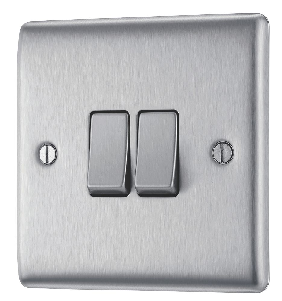 British General Nexus Metal 10ax 2 Gang 2 Way Light Switch Brushed Steel With Colour Matched Inserts Switches Sockets Screwfix Com