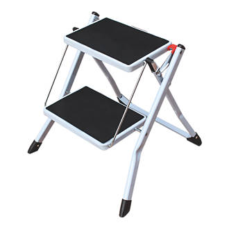 Astonishing Steel White Folding Step Stool 0 44M Alphanode Cool Chair Designs And Ideas Alphanodeonline