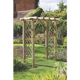 Forest Ultima Pergola Arch Natural Timber 1820 X 1360 X 2450mm Wooden Garden Arches Screwfix Com