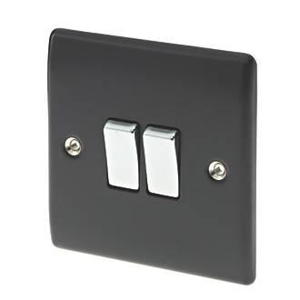 British General Nexus Metal 10ax 2 Gang 2 Way Light Switch Matt Black With Colour Matched Inserts Switches Sockets Screwfix Com