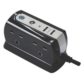 Masterplug 13a 4 Gang Surge Protected Extension Lead 21a 2g Usb
