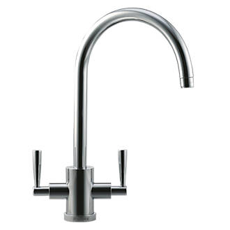 Franke Olympus Dual-Lever Mono Mixer Kitchen Tap Brushed Steel ...