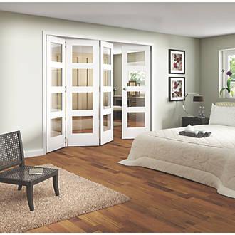 Jeld Wen 4 Door 16 Clear Light Primed White Wooden Shaker Internal Slide Fold Room Divider 1981 X 2440mm Doors Screwfix Com