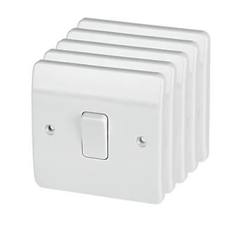 Mk Logic Plus 10ax 1 Gang 1 Way Light Switch White 5 Pack Switches Sockets Screwfix Com