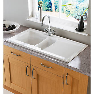 Astracast Ardenne Ceramic 1.5 Bowl Square Inset Sink w/Reversible ...
