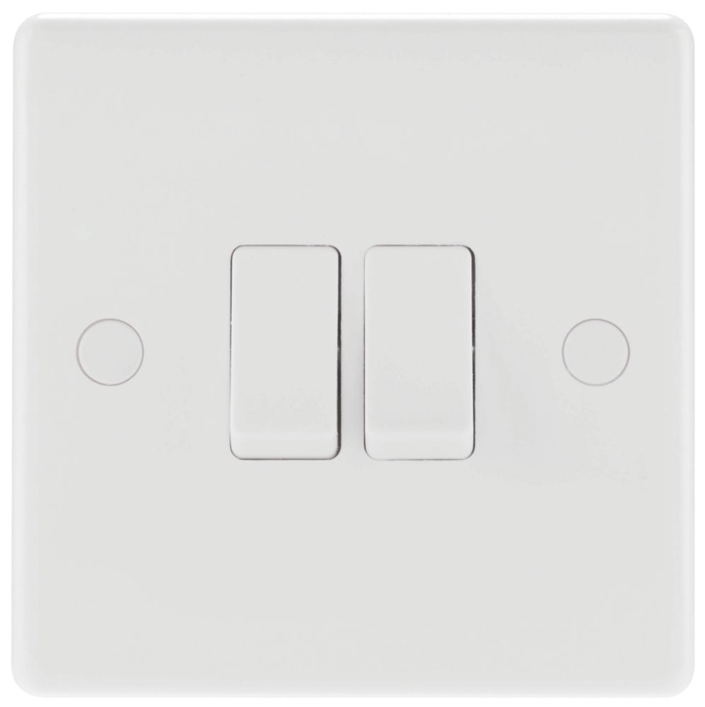 British General 800 Series 10ax 2 Gang 2 Way Light Switch White With Colour Matched Inserts Switches Sockets Screwfix Com
