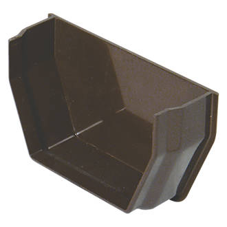 Floplast Square Internal Stop End 112mm Brown Square Line Guttering Screwfix Com