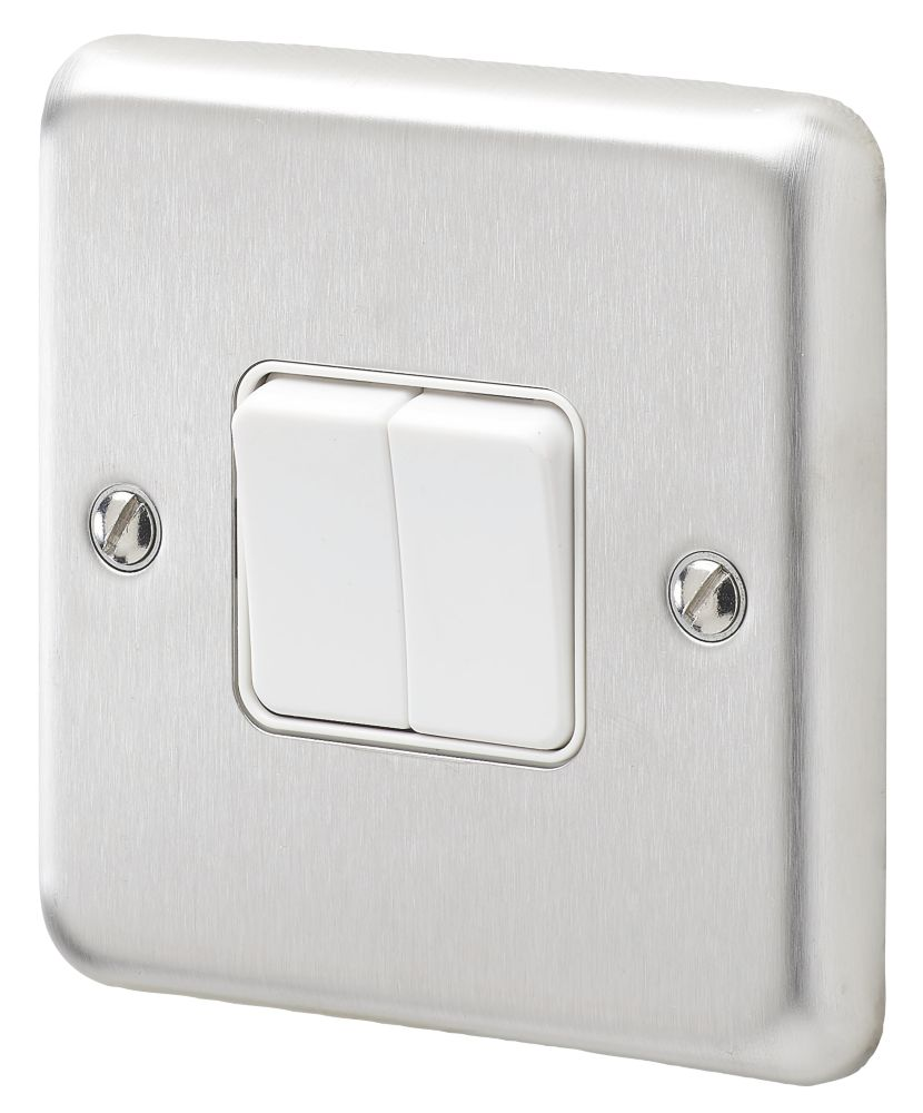 Mk Albany Plus 10ax 2 Gang 2 Way Light Switch Brushed Stainless Steel With White Inserts Switches Sockets Screwfix Com
